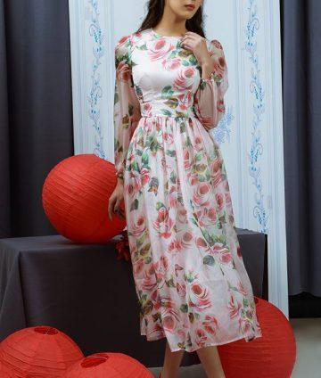 Đầm Xòe Hoa Hồng Tay Dài