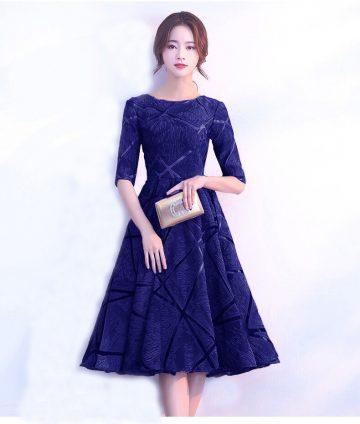 Đầm Xòe Voan Gấm Thêu Cao Cấp