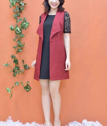 Set Đầm Tay Ren + Áo Khoác Giả Vest