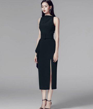 Đầm Body Thiết Kế Xẻ Tà Kèm Belt – Đen