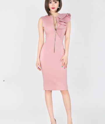 Đầm Body Xếp Bèo Dây Kéo Đồng